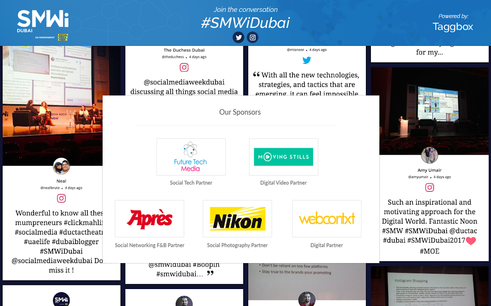 display sponsor on social wall