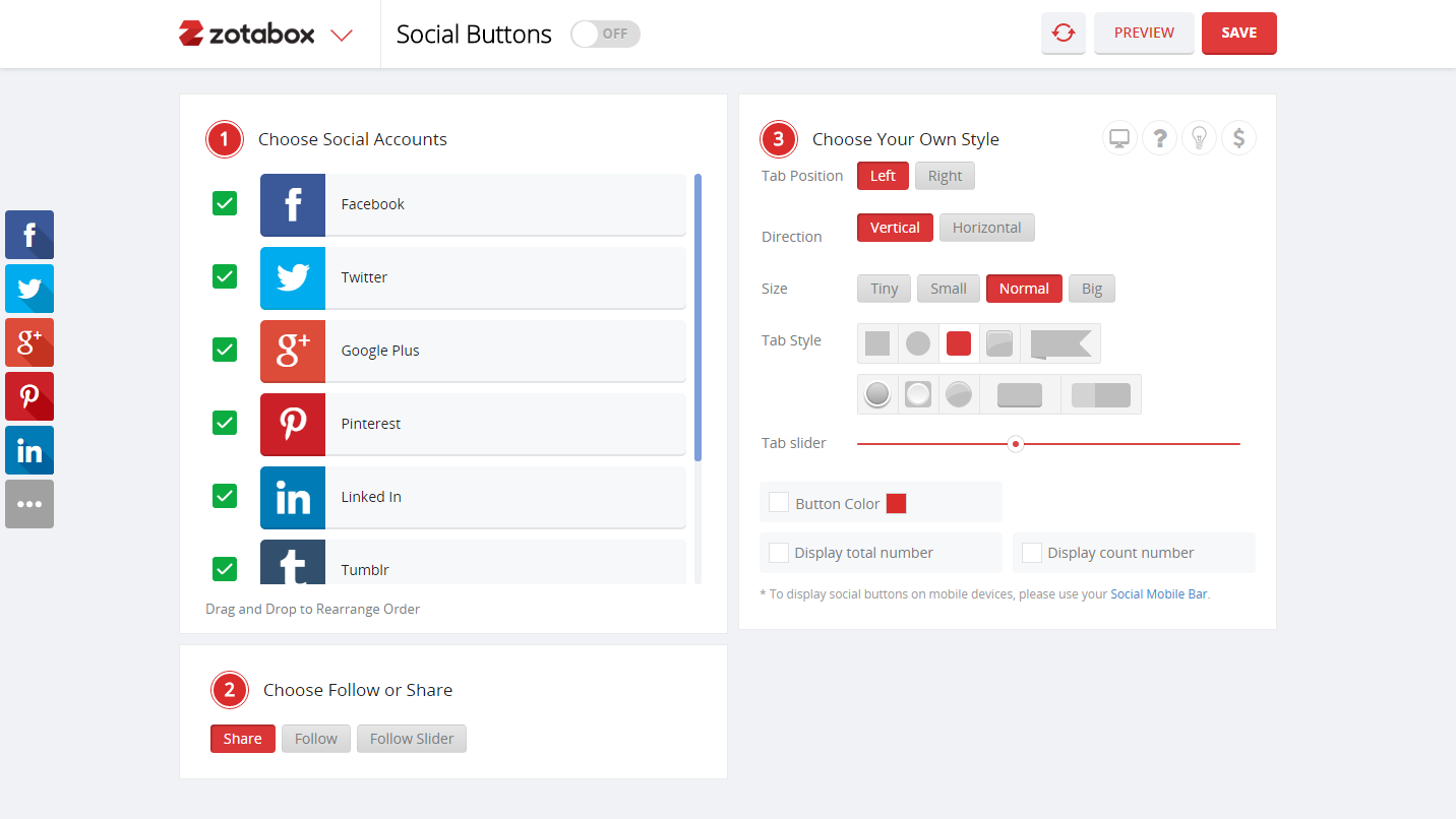 Display Social Media Buttons or Plugins