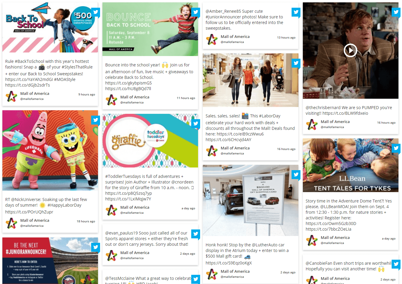 Mall of America social Feeds on Website