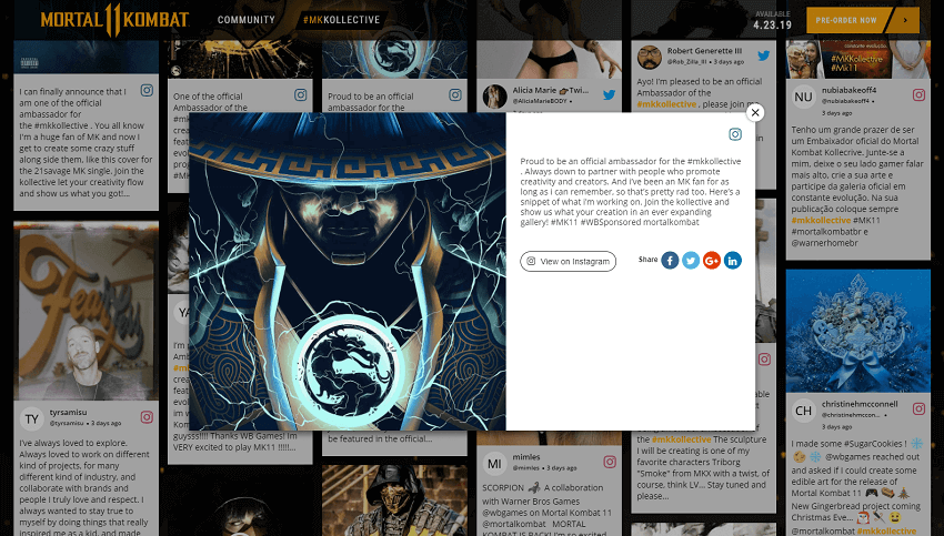 Mortal-Kombat- Instagram Widget on website