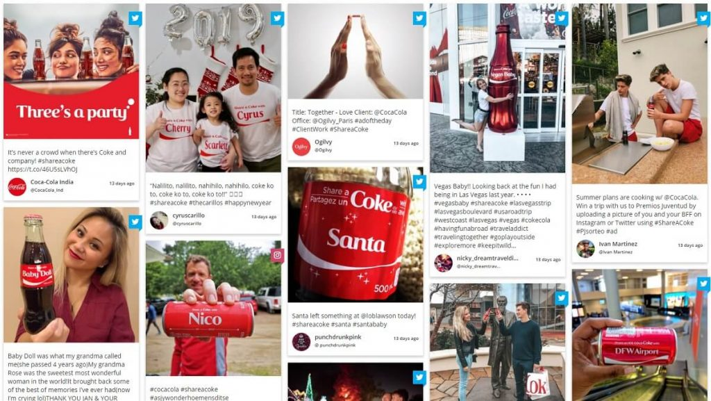Shareacoke tweet wall UGC1