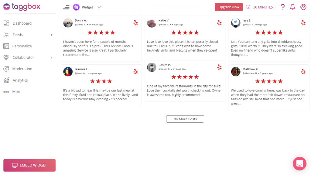 Embed Yelp review widget on website