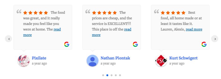 embed google rating on website