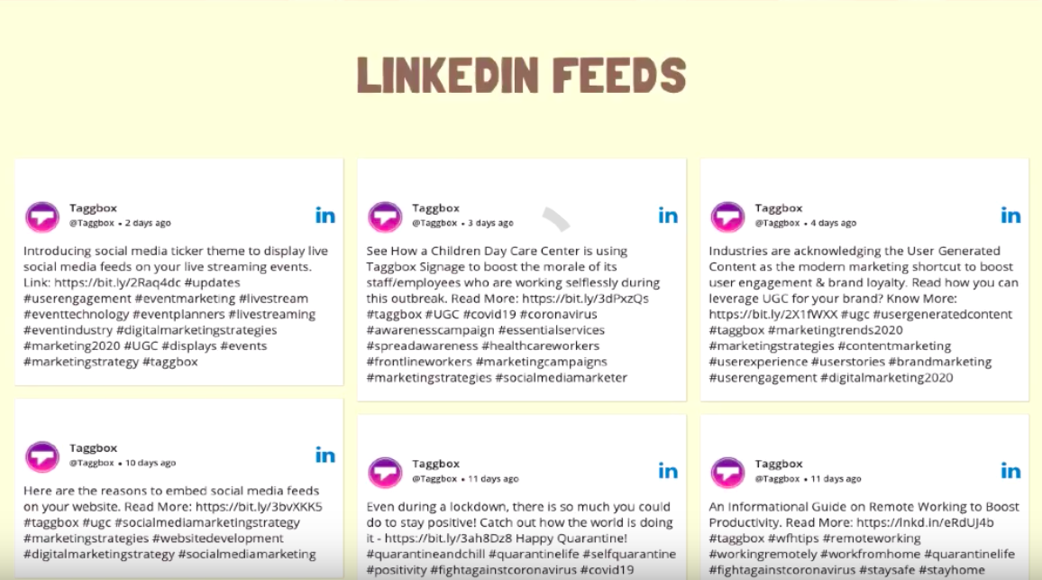Embed Content from linkedin to website