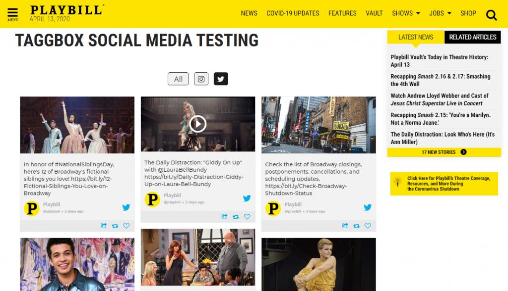 Integrate social media hub on website