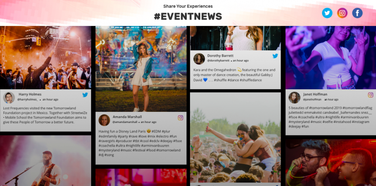 social media wall for event