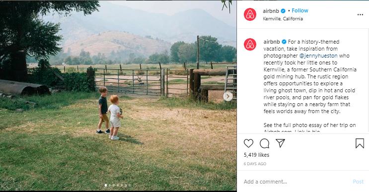 Airbnb: Reposting UGC on Instagram