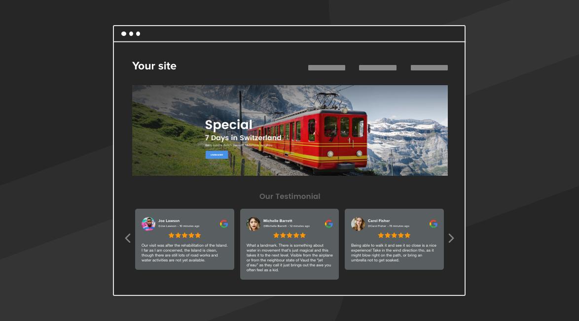 Display reviews on website