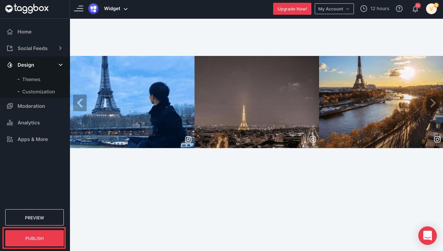 display Instagram slider widget