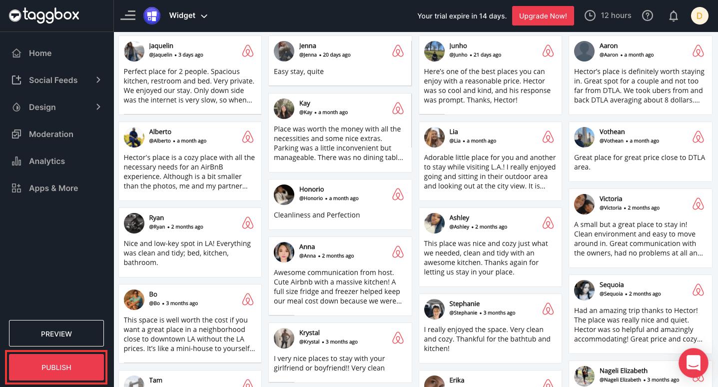 Airbnb reviews widget on website