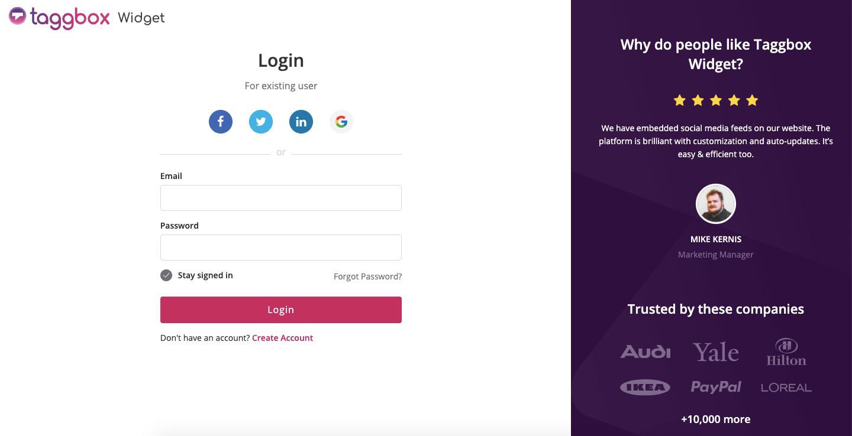 Login to Taggbox Widget