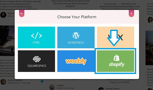 Choose embed platform Shopify