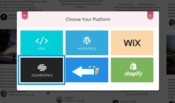 Choose embed platform Squarespace