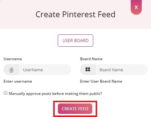 Type Username and Board Name