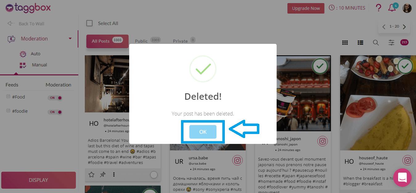 Delete post acknowledgment