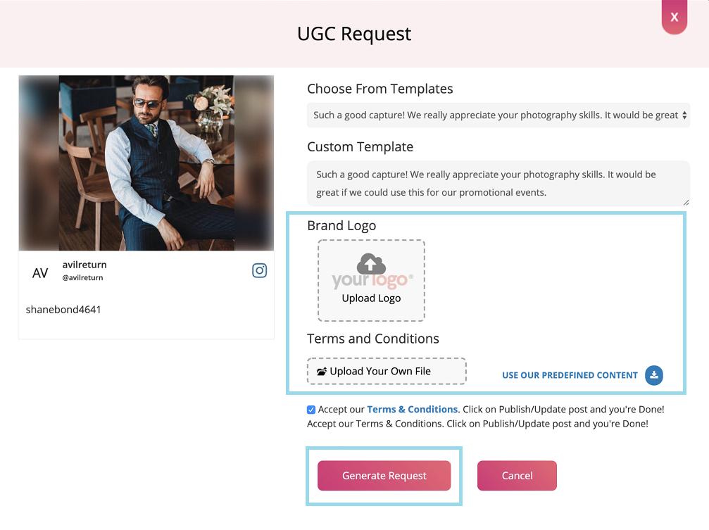 generate UGC right request