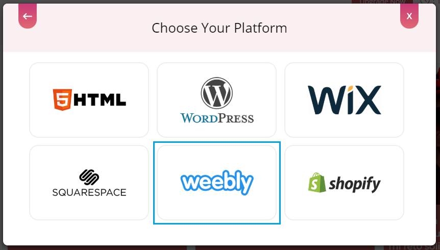 Choose embed platform Weebly