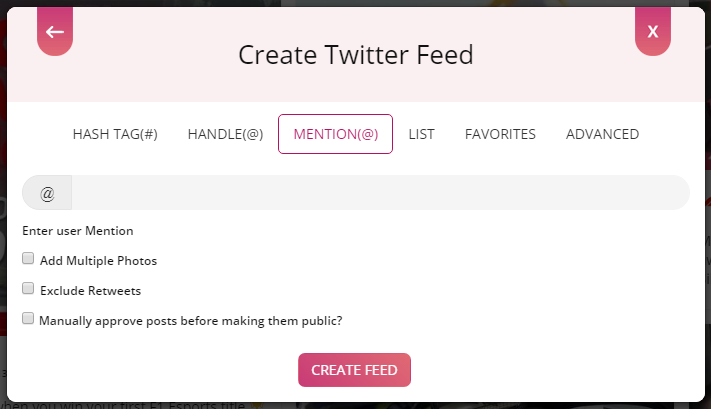 create twitter feed mention