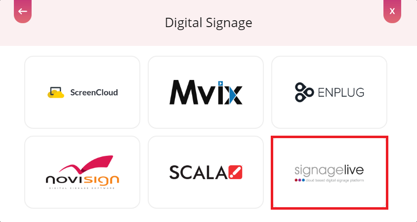 Select SignageLive digital signage