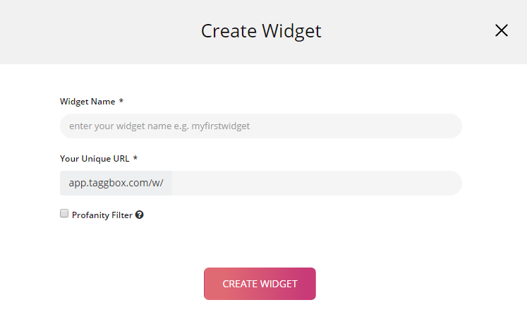 Taggbox create widget
