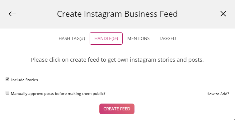 Create Instagram Feed with Handle