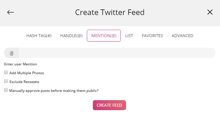 Create Twitter Feed via Mention