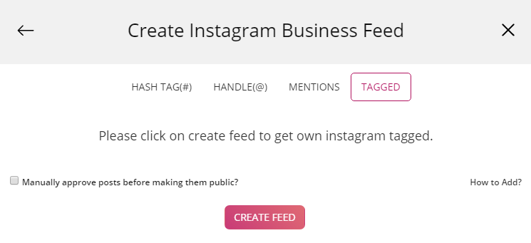 Create Instagram Feed with tagged