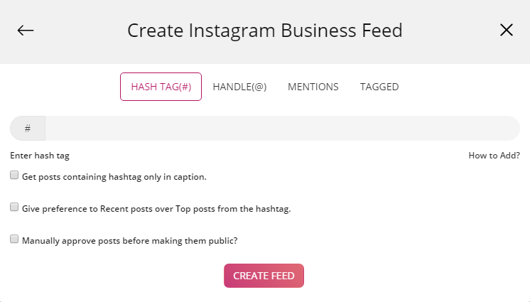 Create Instagram Feed with Hashtag