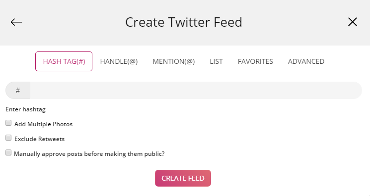 Embed Twitter hashtag on shopify
