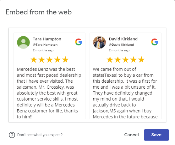 Embed Google review code on Google site