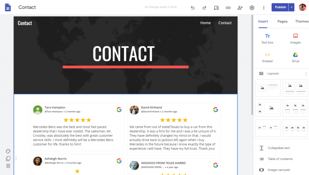 Display Google Review on Google site