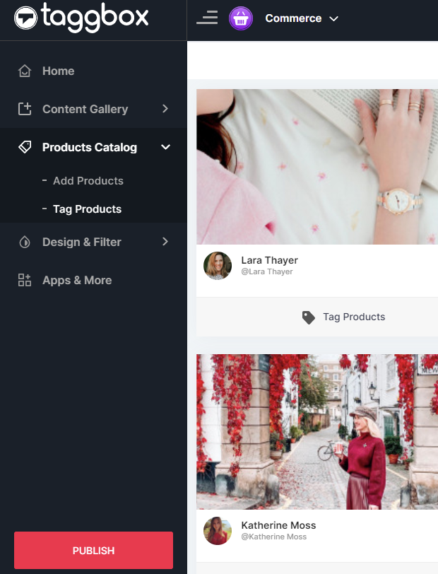 Shoppable gallery Editor