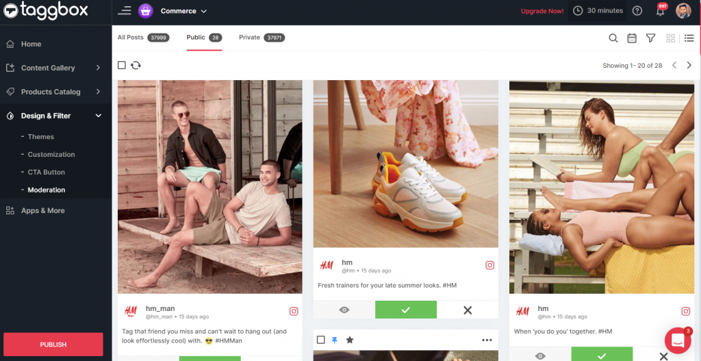 Content moderation in shoppable gallery