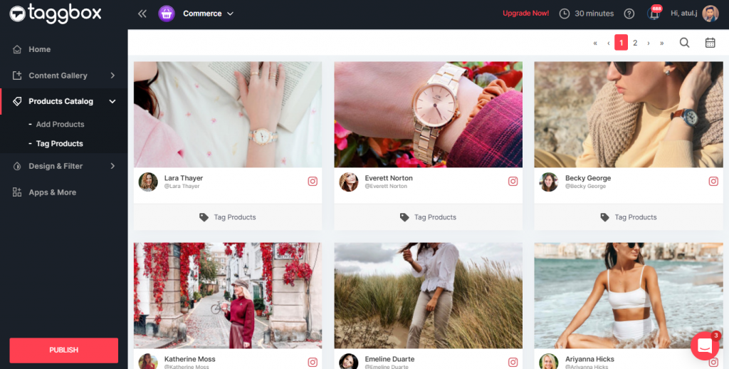 Embed shoppable Instagram gallery on website