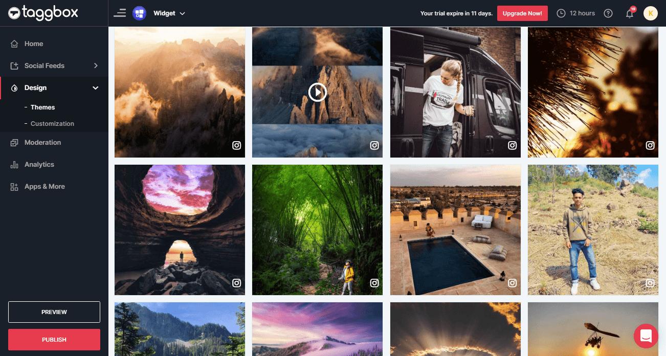 Instagram feed widget for elementor