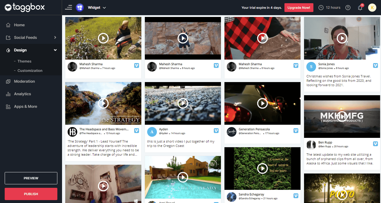 Preview & Publish Vimeo Feeds Widget