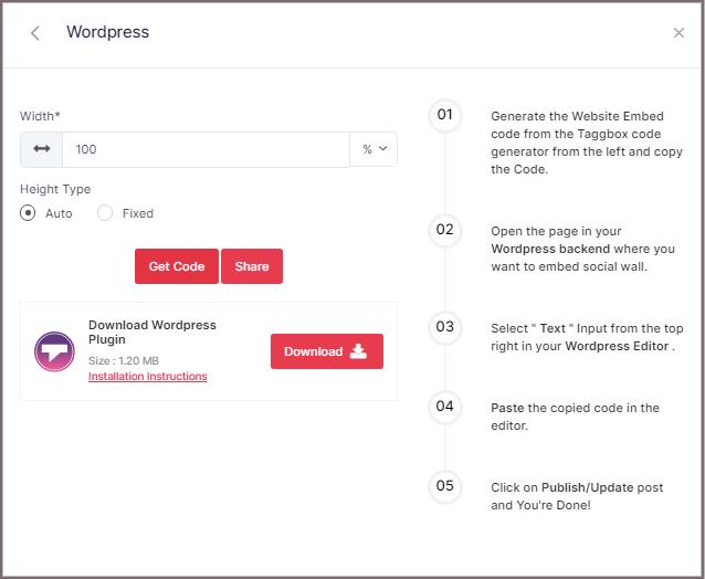 Facebook feed code for WordPress website