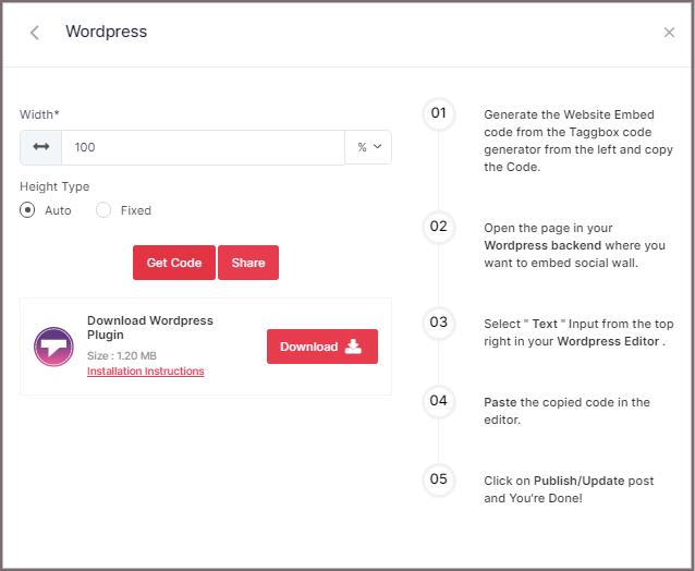 embed YouTube code for WordPress website