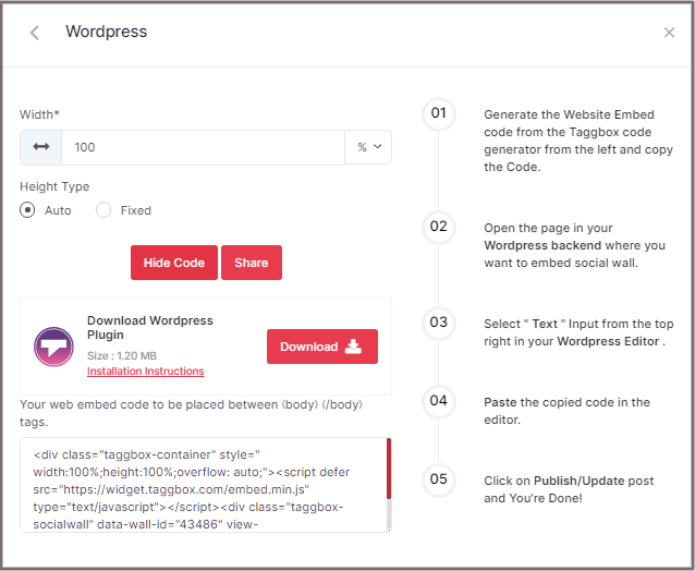 embed LinkedIn code for WordPress website