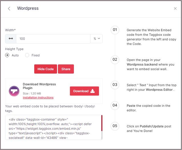 Twitter feed on WordPress' get code
