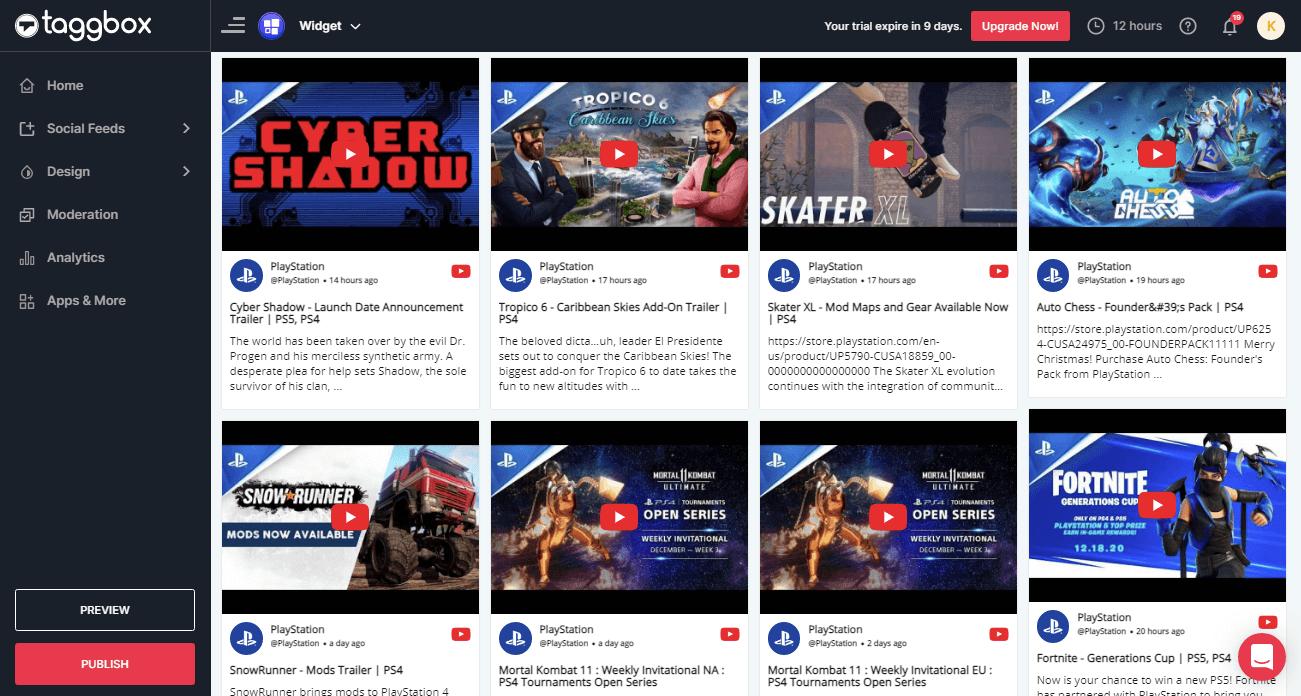 YouTube Feed widget