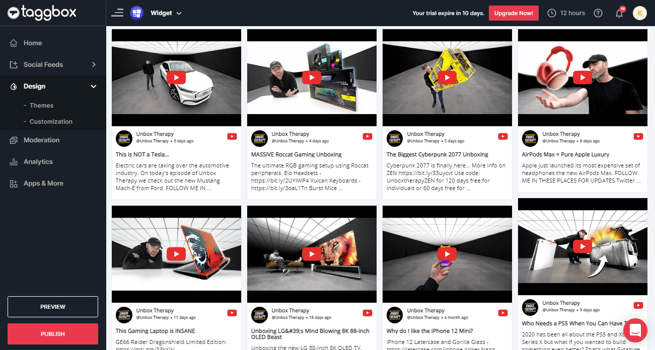 Embed YouTube Widget on websites