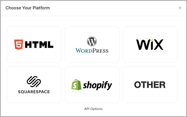 Choose embed platform Squarespace