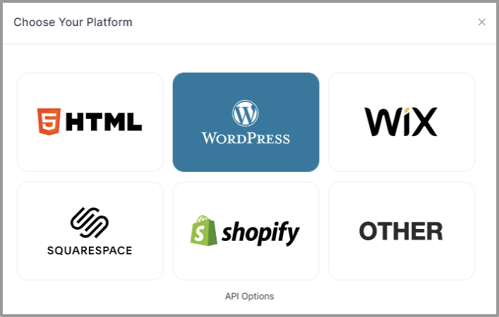 Choose embed platform as WordPress