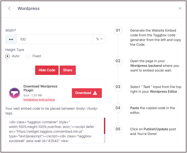 Embed Code for WordPress Website