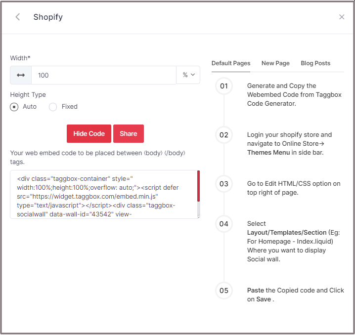 Embed Shopify Code