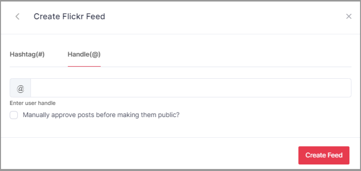 Choose Handle to Embed Feeds