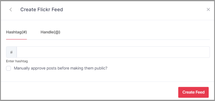 Choose Hashtag to Embed Feeds