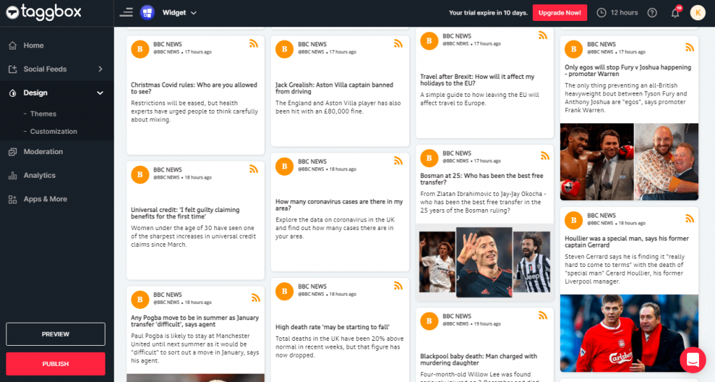 Preview & Publish RSS Feeds Widget