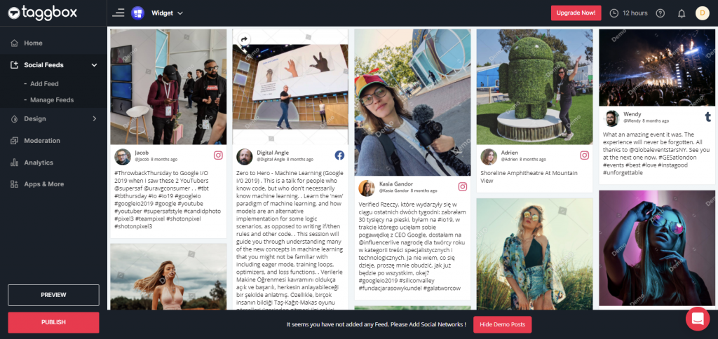 Preview & Publish Social Feeds